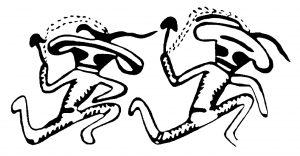 PSI-TV-Logo: Tanzende Pilzmaennchen
