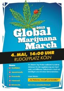 Plakat des Global Marijuana March 2013 in Köln