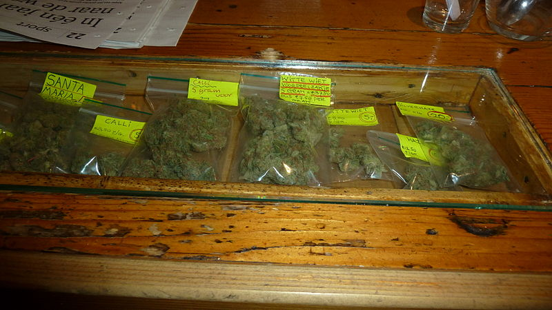 The bar of a Dutch coffeeshop: Display showing marihuana