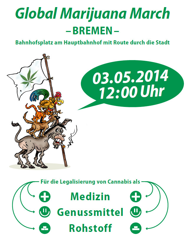 Flyer Global Marijuana March Bremen 2014