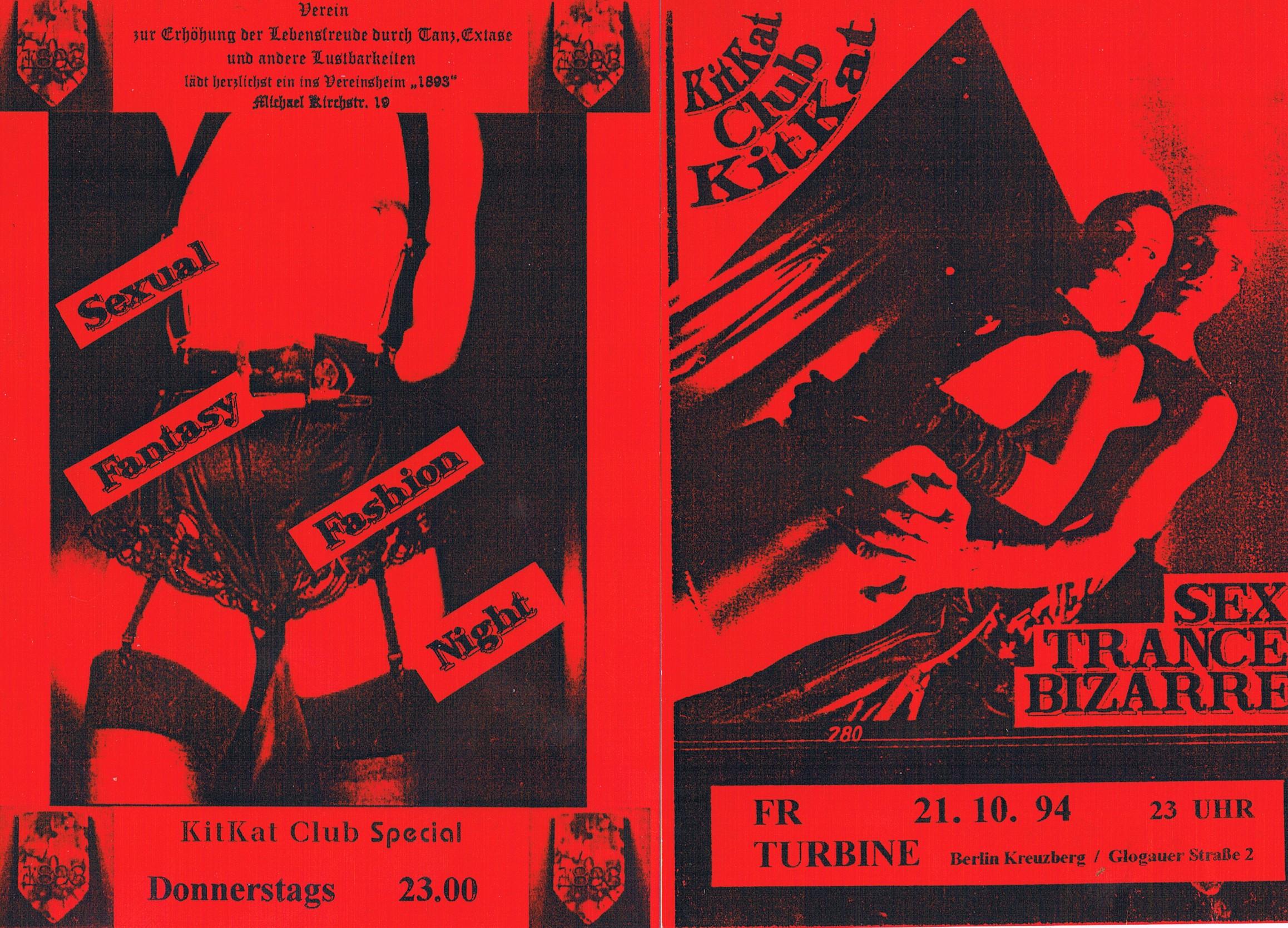 Flyer KitKat im Vereinsheim und Flyer KitKat in der Turbine