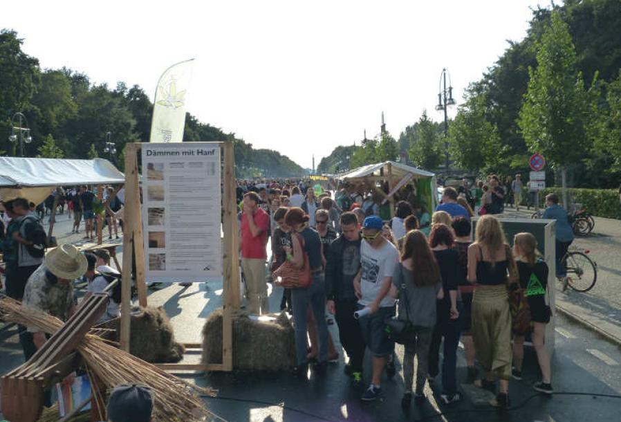 """Nutzhanfareal auf der Abschlusskundgebung der Hanfparade. Foto aus der Chronik """"20 Jahre Hanf Museum""""."""
