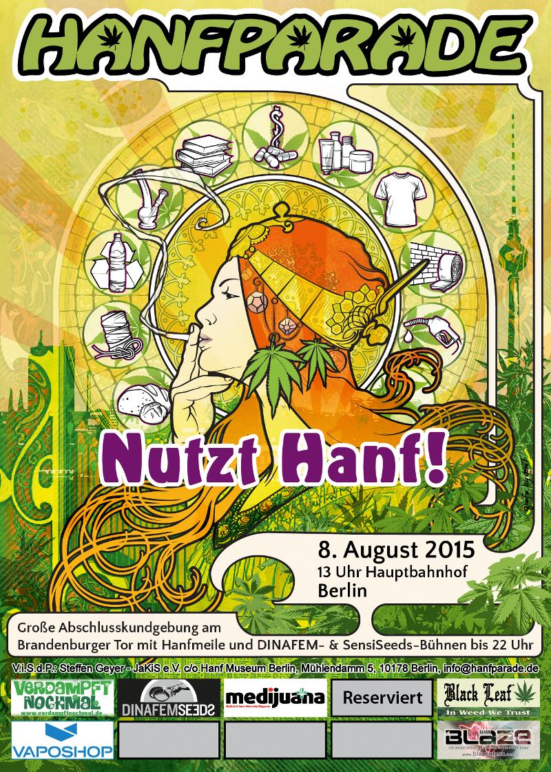 Flyer für die Hanfparade 2015. Grafik: Doro Tops.