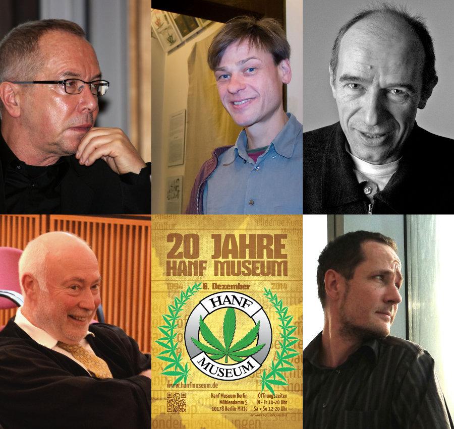 Teilnehmer der am 6. Dezember 2014 im Hanf Museum anberaumten Diskussionsrunde: Wolfgang Nešković, Rolf Ebbinghaus, Mathias Bröckers, Matthias Schillo und Martin Müncheberg
