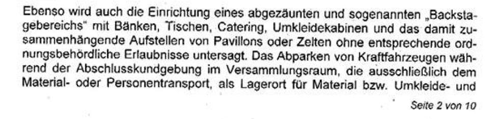 Auszug aus dem Auflagenbescheid der Versammlungsbehörde von Berlin zur Hanfparade