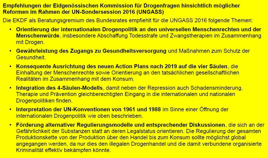 Abbildung 4 zeigt die Empfehlungen der EKDF hinsichtlich möglicher Reformen im Rahmen der UN-Sondersession 2016.