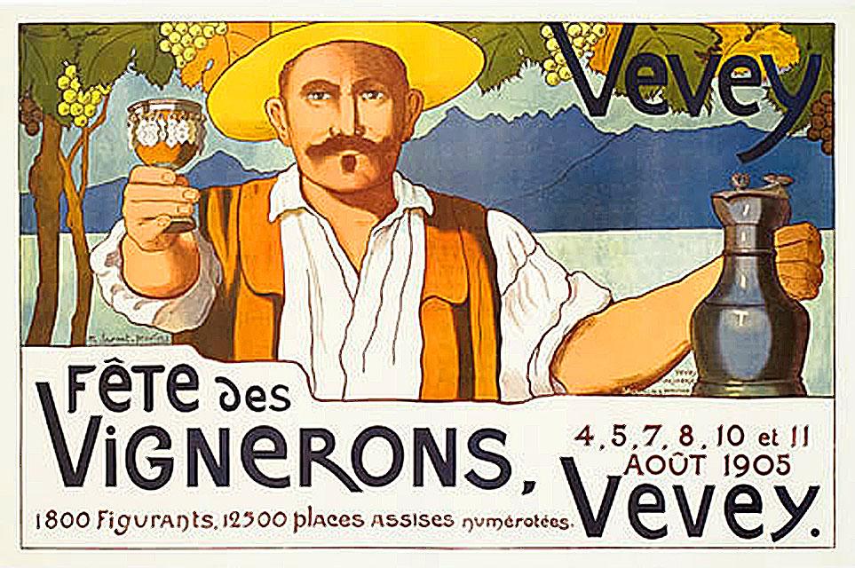 Abbildung 3 zeigt Werbeplakat für die Fête des Vignerons im Jahre 1905.