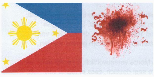 Flagge der Philippinen mit Blutfleck