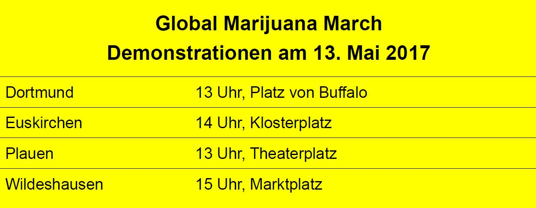 Global Marijuana March 2017, teilnehmende Städte am 13. Mai 2017