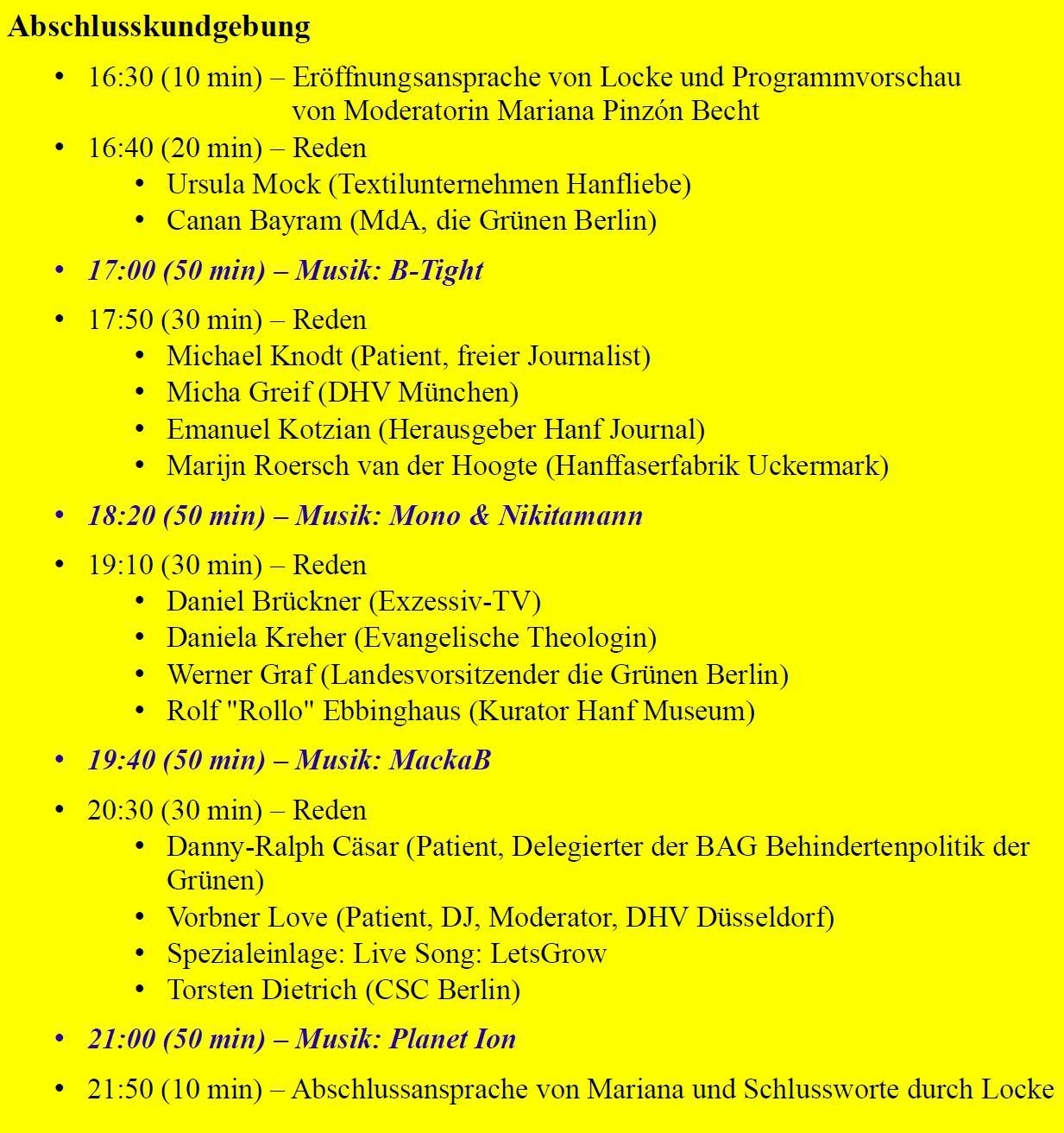 Abbildung 4 zeigt das Programm der Abschlusskundgebung der Hanfparade 2017