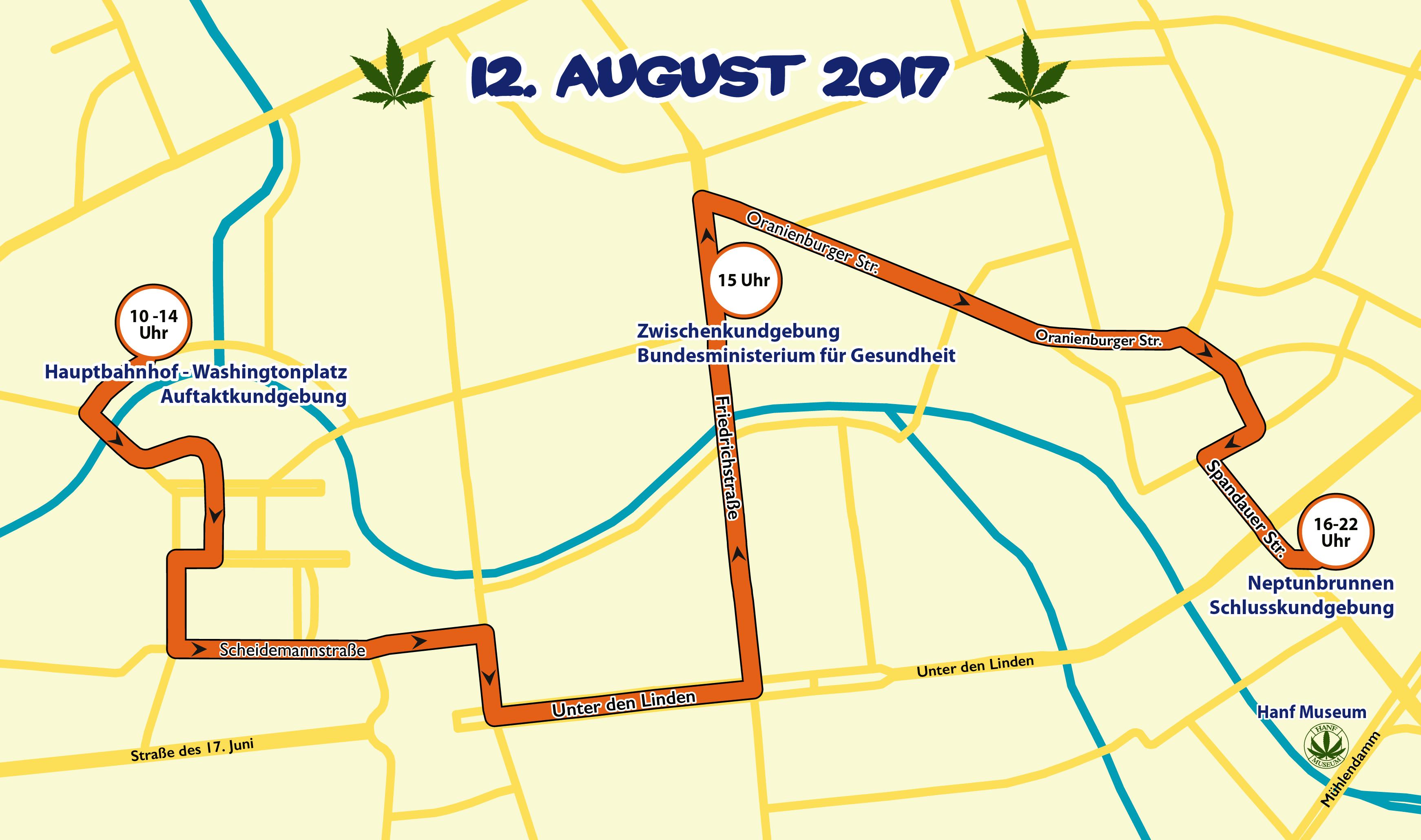 Abbildung 1 zeigt die Route der Hanfparade 2017. Grafik: Doro Tops, Lizenz: CC BY-SA 3.0 DE