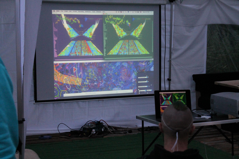 Abbildung 8 zeigt visualisierte Gehirnströme von zwei Personen auf der Leinwand im Drogeninfostand auf dem New Healing Festival 2017. Foto: Tomek (CC BY-SA 3.0 DE)