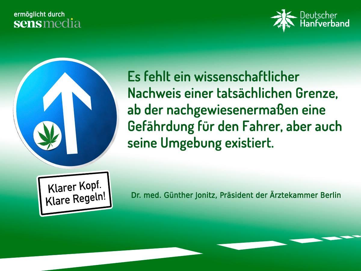 Zitat von Günther Jonitz zur Führerscheinkampagne des Deutschen Hanfverbandes. Bild: Deutscher Hanfverband.