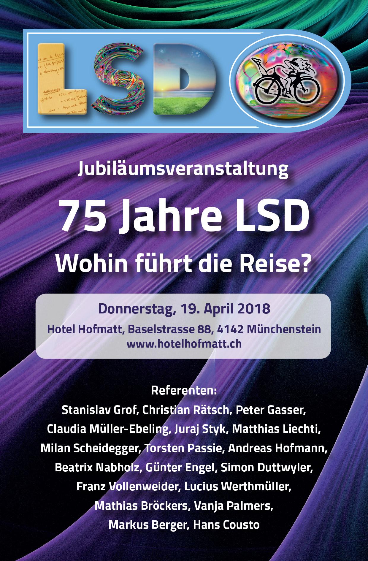 Plakat zur Jubiläumsveranstaltung 75 Jahre LSD-Erwahrung
