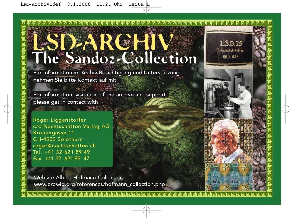 Die Abbildung zeigt die Information zum LSD-Archiv, der sogenannten Sandoz-Collection. Foto: Privatarchiv Roger Liggenstorfer