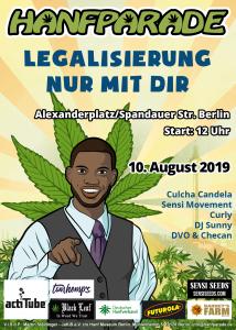Geschäftsmann-Poster zur Hanfparde 2019. Grafik: Doro Tops