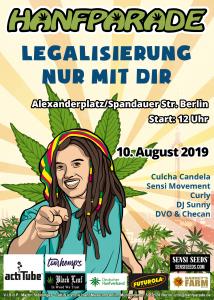 Kiffer-Poster zur Hanfparde 2019. Grafik: Doro Tops (zum Vergrößern, Bild anklicken)