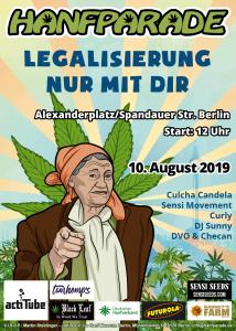 Bäuerin-Poster zur Hanfparde 2019. Grafik Doro Tops (zum Vergrößern, Bild anklicken)