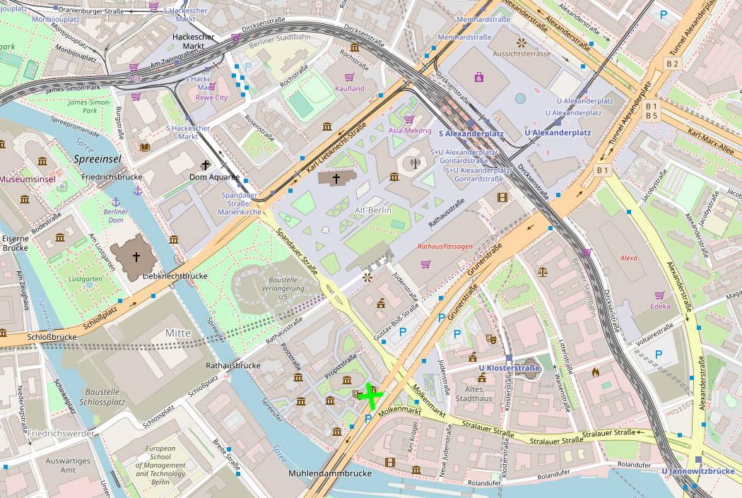 Umgebungsplan des Hanf Museums. Das Hanf Museum befindet dort, wo das grüne Kreuz im Plan eingezeichnet ist.