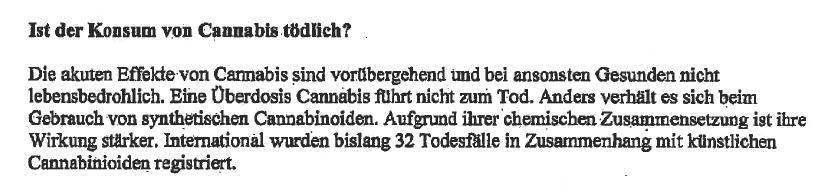 Ist der Konsum von Cannabis tödlich? Auszug aus dem Schreiben von Daniela Ludwig