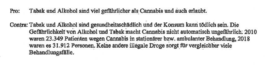 Pro und Contra Legalisierung, Auszug aus dem Schreiben von Daniela Ludwig
