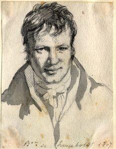 Alexander von Humboldt, in Berlin 1807, Bleistift und Tusche (Zeichnung von Frédéric d'Houdetot)