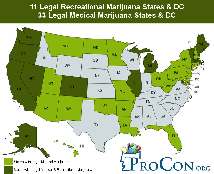 Bundesstaaten in den USA. Hellgrün eingefärbt sind die Bundesstaaten in denen Cannabis als Medezin legal ist, in Dunkelgrün sind die Bundesstaaten in denen Cannabis als Medezin wie auch der Freizeitgebrauch legal sind. Grafik: ProCon.org.
