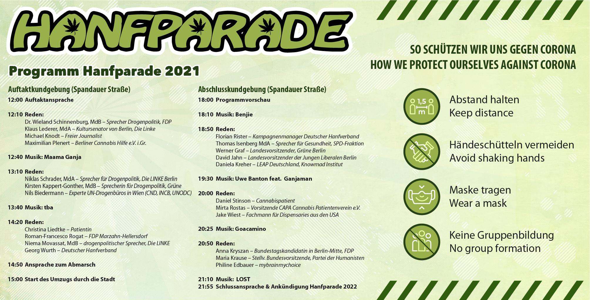 Hanfparade 2021 Banner mit Programm und mit Hinweisen zum Gesundheitsschutz