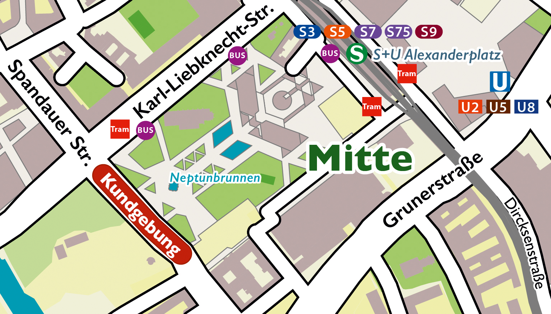 Umgebungsplan des Kungebungsplatzes der Hanfparade 2021