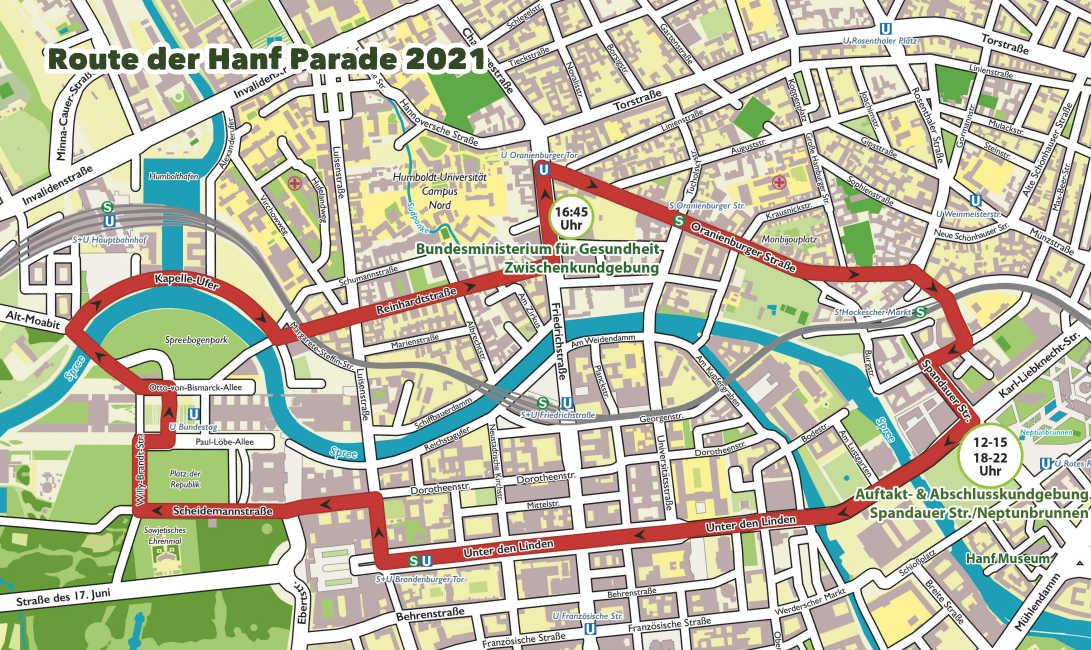 Routenplan der Hanfparade 2021