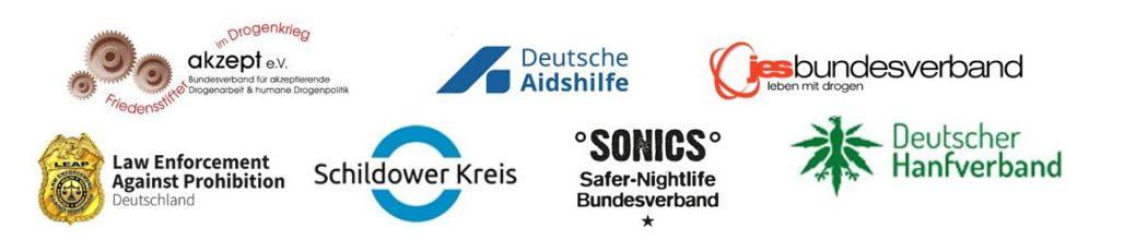Logos der beteiligten Oganisationen der Forderungen für die deutsche Drogenpolitik
