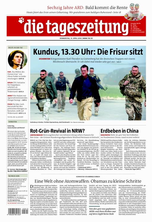 Titelseite der taz vom 15.4.2010