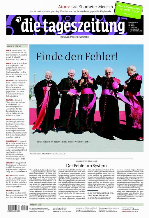 Titelseite der taz vom 23.4.2010 - Finde den Fehler