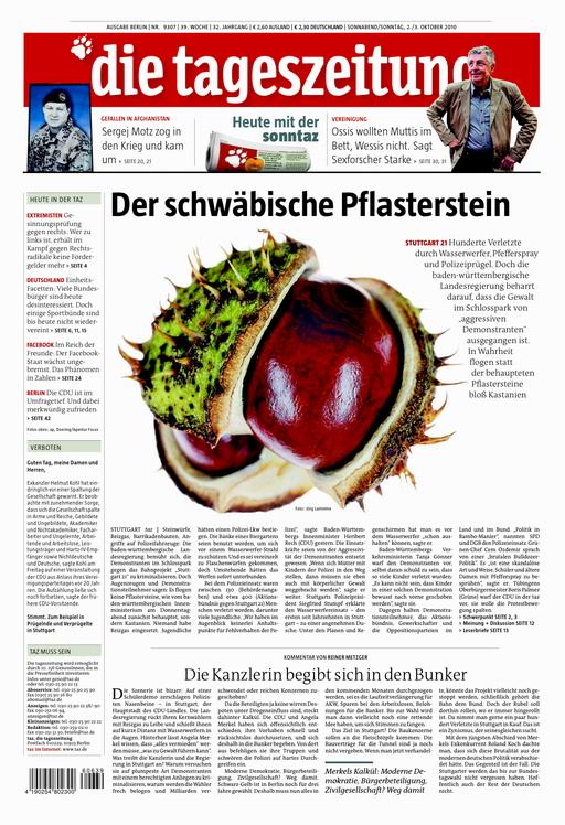 Titelseite der taz vom 2.10.2010