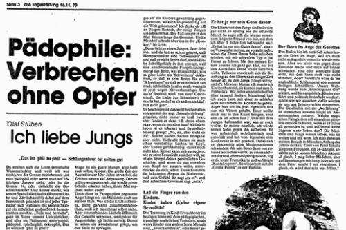 Das umstrittene Manifest eines Pädophilen in der taz vom 16. November 1979