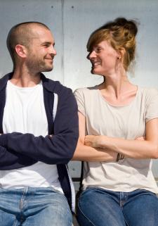 Community-Betreuer Kaspar Zucker und Aline Lüllmann. Foto: Katja Hoffmann