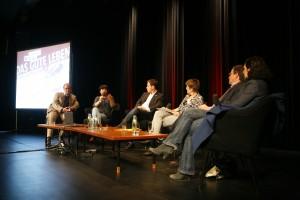 Von links: Daniel Bax, Mely Kiyak, Ferry Pausch, Sabine am Orde, Armin Laschet, Naika Foroutan. Foto: David Oliveira