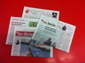 Zeitungsbücher in Berlin: Politik, Wirtschaft und Umwelt, tazzwei, Berlin
