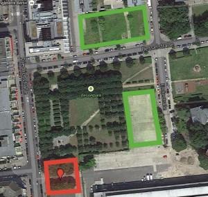 taz-Neubau (rot) und neue Parkflächen (grün)