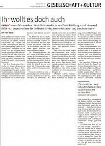 Die taz-Seite 14 vom 9. Januar 2014 - ihrem Foto beraubt.