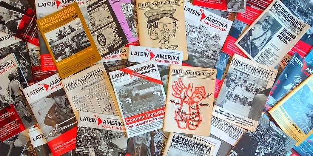 469 Ausgaben Lateinamerika Nachrichten in 40 Jahren sind ganz schön viele Titelbilder.