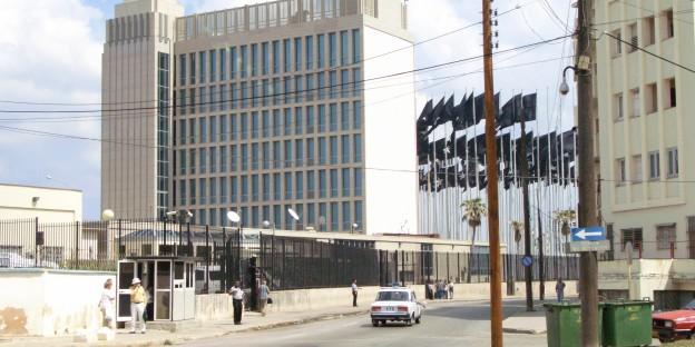 Die US-Interessensvertretung in Havanna - strickt abgeriegelt und streng bewacht.