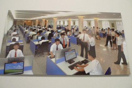 """KCNA Photo of Students in Computer Lab at Kim Il Sung University"""