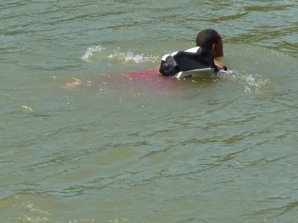 Rheinschwimmer mit Schwimmsack