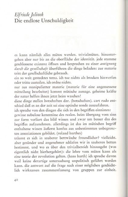 Elfriede Jelinek, Die endlose Unschuldigkeit