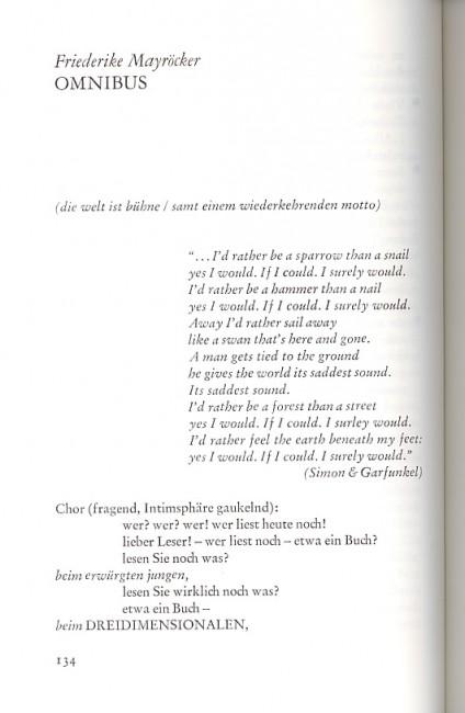 Friederike Mayröcker, Omnibus, s. 134