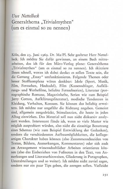 Renate Matthaei an Uwe Nettelbeck