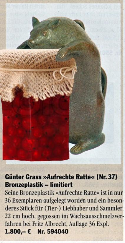 Günter Grass-Aufrechte Ratte. Collage von Barbara Kalender 2012