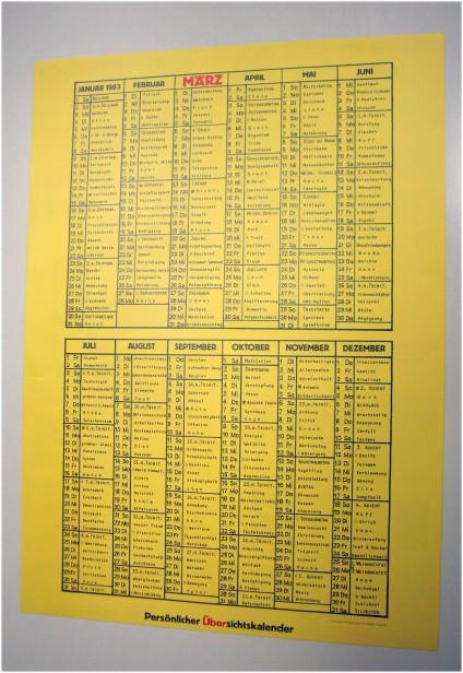 März-Kalender 1983, persönlichen Übersichtskalender, März Verlag, Schröder & Kalender