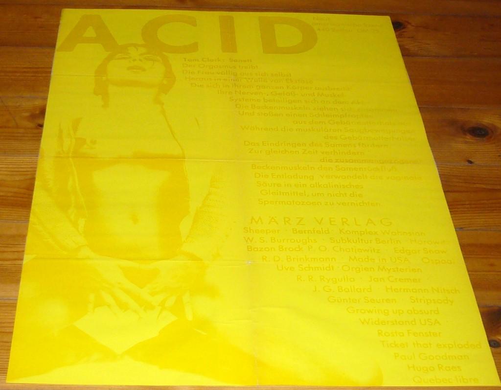 Acid-Plakat, Siebdruck, gestaltet von Jörg Schröder